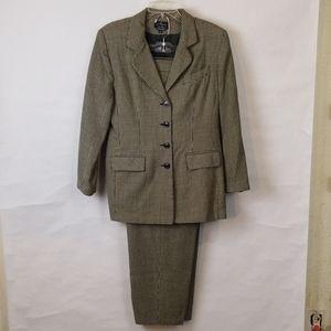Alanni Wool 2pcs B&W Women's Checkered Suit sz 14